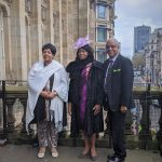 After the flag-raising ceremony: Councillor Yvonne Mosquito, Deputy Lord Mayor with Dr Beverly Lindsay OBE OD, Vice Lord-Lieutenant and Wade Lyn CBE, Chair of the Communities Focus Group, BCA and Honorary Consul for Jamaica