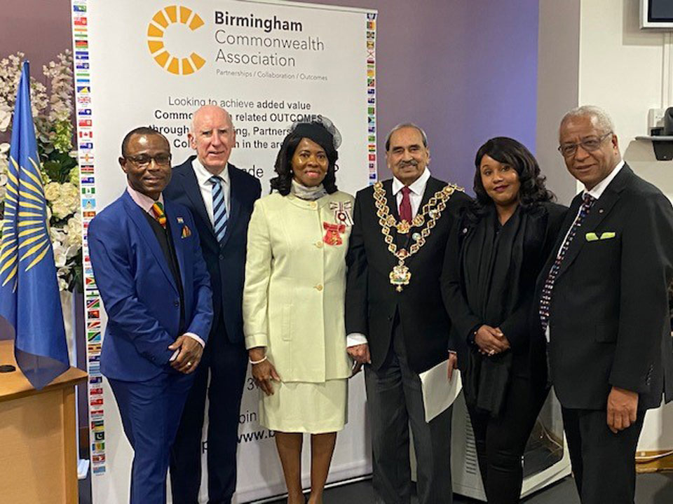 At the Registry Office (from left to right) Dr Quaye Botchway, Ghana Union Midlands, Keith Stokes-Smith, BCA Chairman, Dr Beverly Lindsay OBE OD, Vice Lord-Lieutenant, Councillor Mohammed Azim, Lord Mayor of Birmingham with Nura Ali Dhuhul, Allies Netowrk WM and Wade Lyn CBE, Chair of the Communities Focus Group, BCA and Honorary Consul for Jamaica