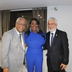 Wade Lyn CBE, Chair of the Communities Focus Group, BCA and Honorary Consul for Jamaica with Tessa Sanderson CBE and Jaffer Kapasi OBE, Consul General of the Republic of Uganda